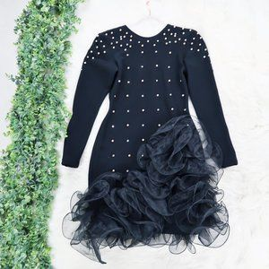 Tadashi Shoji Vintage Pearl Tulle Black Dress S